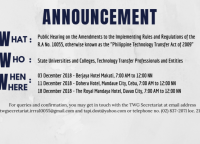Public Hearing on the Amendments to the Implementing Rules and Regulations of the R.A No. 10055
